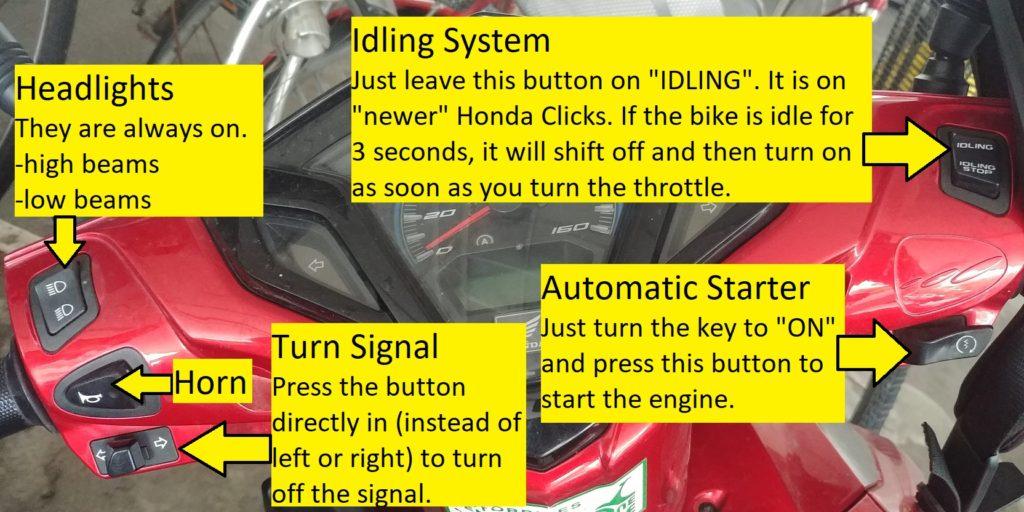 Honda Click Dashboard with Explanations